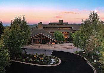 Entrance of resort at sunset